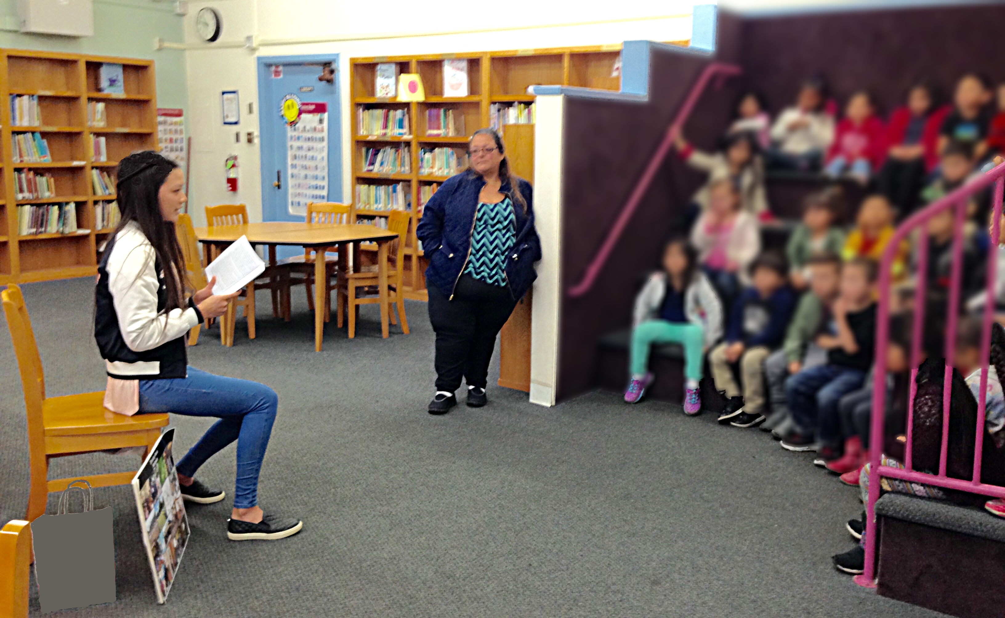 Alexis reading at Carson Elementary School