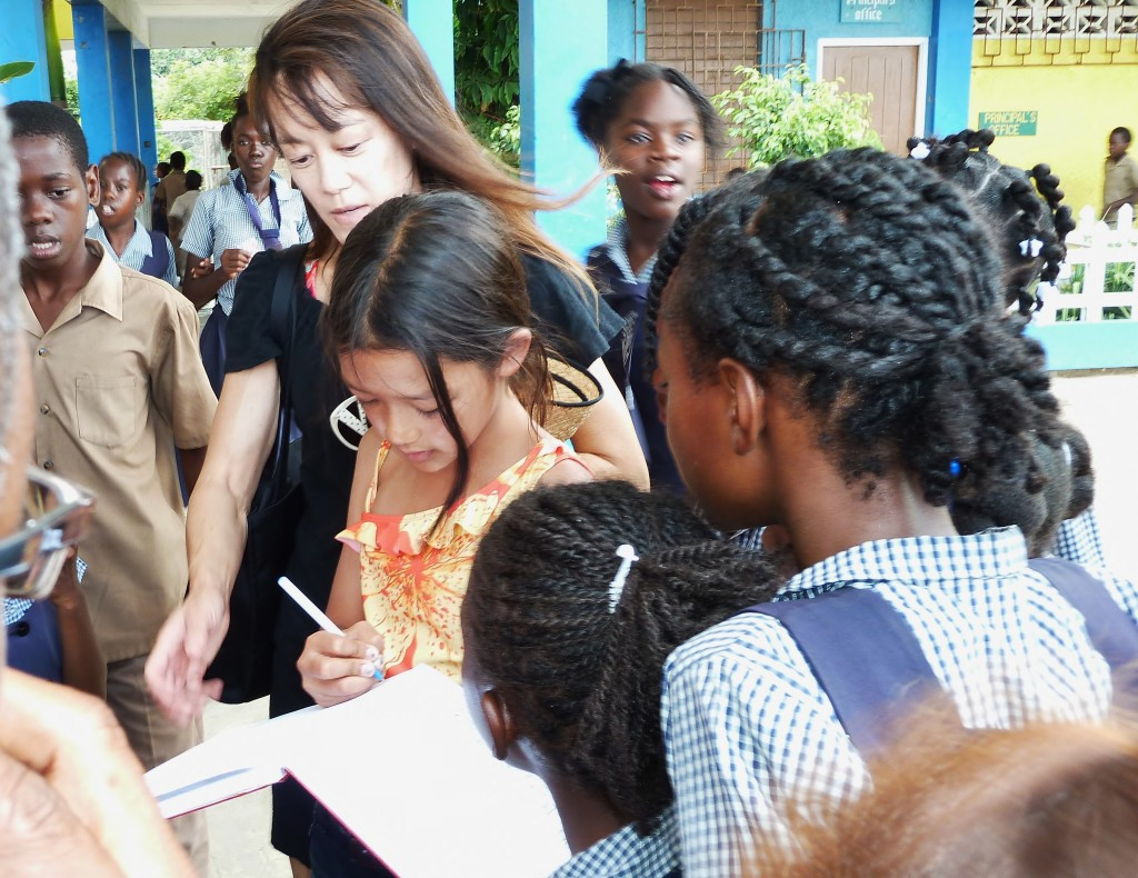 Children at the primary school in Falmouth, Jamaica greet us enthusiastically.